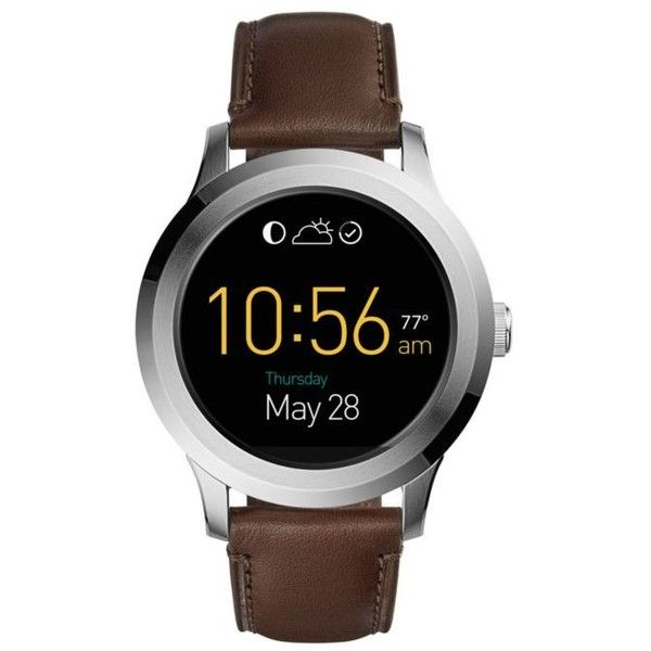 Fossil Q  Founder Touchscreen Leather Smartwatch ($191) ❤ liked on Polyvore featuring men's fashion, men's accessories, men's tech accessories, black and mens leather accessories