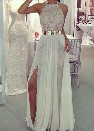 2016 Halter Long Prom Dresses Lace Appliques Side Split Chiffon with Gold Metal Belt Sexy Evening Gowns