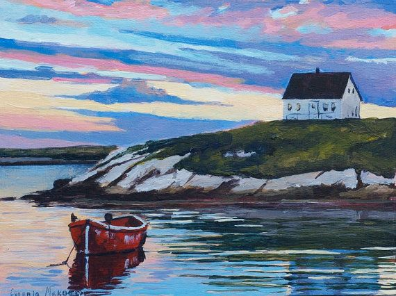 Sunset painting original acrylic coastal Nova by EvgeniaMakogonArt