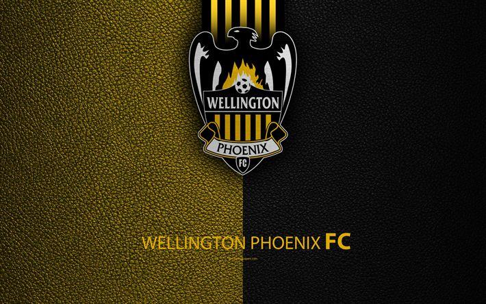 Download wallpapers Wellington Phoenix FC, 4K, New Zealand Football Club, logo, emblem, ISPS Handa Premiership, leather texture, Wellington, New Zealand, NZFC, OFC, Oceania