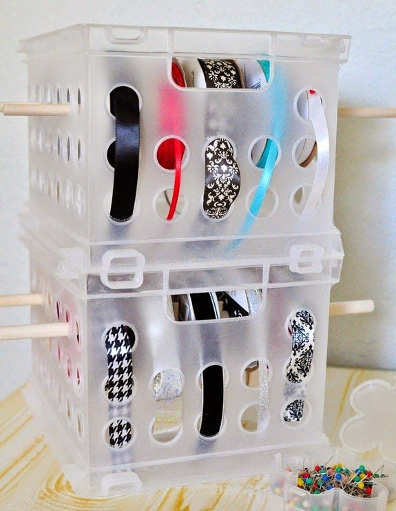 I like this idea. I would not use clothes pins, tho, since the Sterilite bins I have actually have six holes and I'm thinking I could get 12 narrow rolls of ribbon on a dowel with 6 rolls facing each side with a large bead in-between (takes up less room). I would also not put pins in my ribbon like that. I use yarn to tie mine.