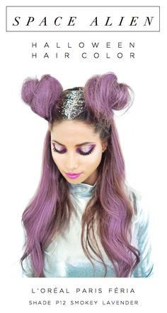 Space Alien Halloween costume hair color with L'Oreal Paris Feria Smokey Pastels in P12 Smokey Lavender. Play up the purple hair color with glitter roots and space buns.