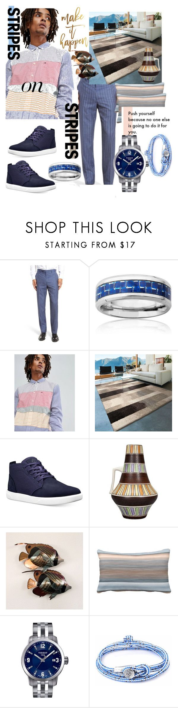 """Men Wear Stripes on Stripes"" by mdfletch ❤ liked on Polyvore featuring J.B. Britches, West Coast Jewelry, Hilfiger Denim, Orian Rugs, Timberland, Frontgate, Tissot, Anchor & Crew, men's fashion and menswear"
