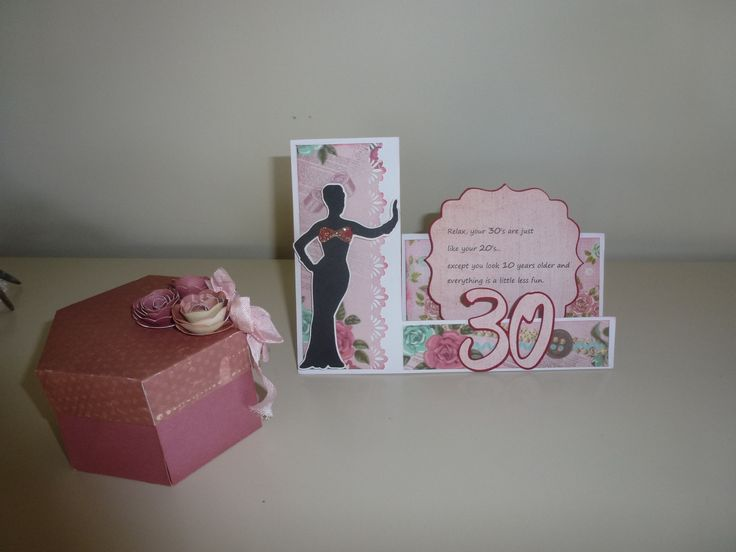 Made for my daughter's 30th - exploding box & step card (suburbia Cricut cartridge on card - CTMH Artiste for the box & flowers)