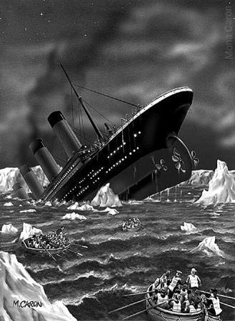 Titanic sinking: probably what remaining passengers saw when they were rowing away from it .