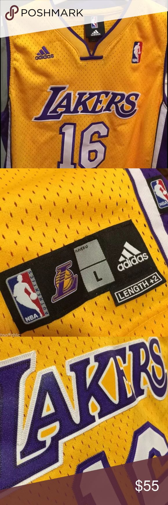 """LA LAKERS ADIDAS JERSEY!Pau Gasol LADIES S YOUTH14 LAKERS LOS ANGELES NBA JERSEY! 100% Authentic direct from NBA Store!   NEW LA PAU GASOL ADIDAS GOLD SWINGMAN OFFICIAL NBA BASKETBALL JERSEY!  NBA Jersey- 100% Authentic! Nice Adidas details like re engineered Climacool fabric for enhanced comfort. Bk hem 2"""" longer, sewn patches- OFFICIALLY LICENSED. Climacool technology conducts sweat & heat away. Paid $75. New.   Size: Youth Large.Fit ladies (s-m) no women's jerseys like this. Men siz…"""