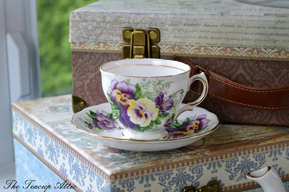 Royal Vale White Teacup and Saucer With Purple Pansy Flowers, Vintage English Bone China Tea Cup, Garden Tea Party,  ca. 1962-1964