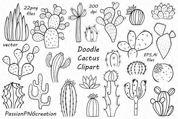 Doodle Cactus Clipart Digital Cacti Clip Art Png Eps Ai Etsy Cactus Clipart Flower Silhouette Plant Doodle