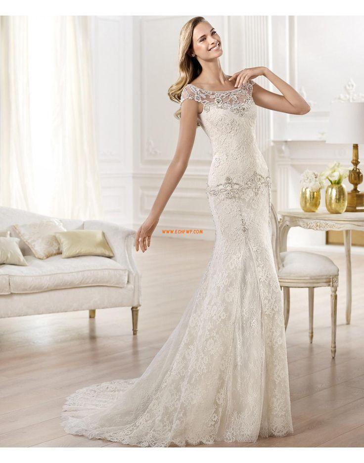 Elegant & Luxuriös Kurze Ärmel Natürlich Brautkleider 2014