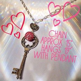 Pink key to my heart with sparkle ball charm