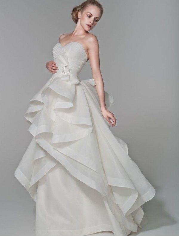 Organza sweetheart neckline a line 2 in 1 wedding dress for Organza layered wedding dress