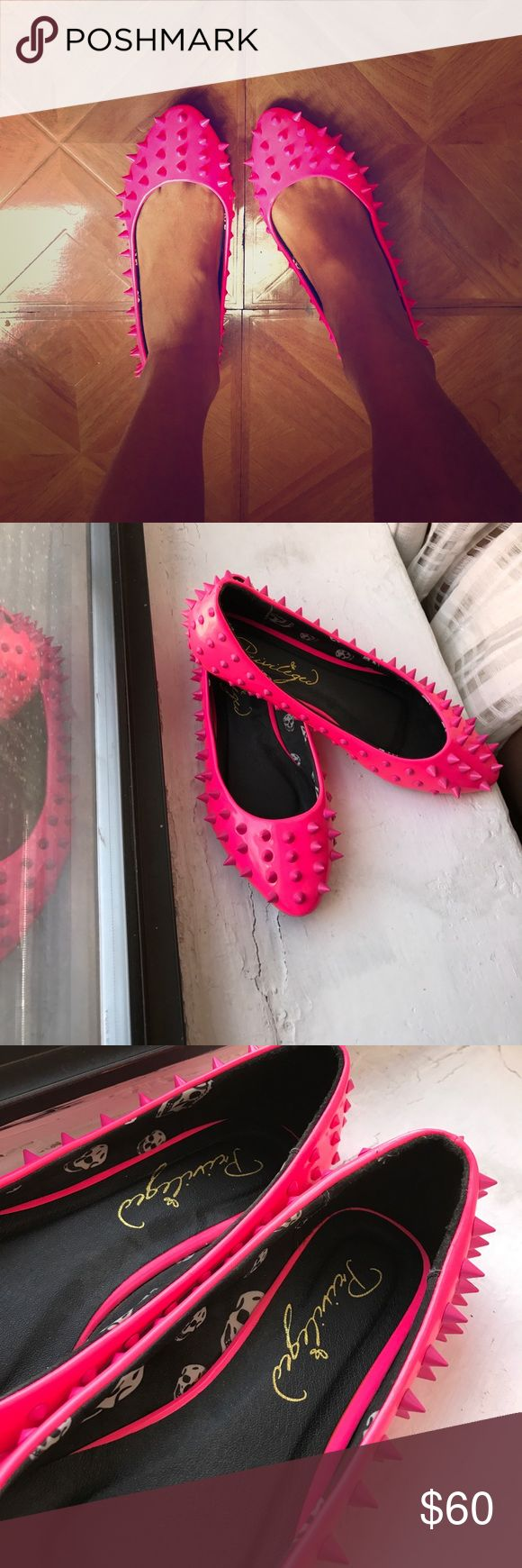 Funky Spiked Flats 👀 Neon pink spiked pumps are definitely an eye catcher 👀 I've always loved them so much that I didn't even want to wear them but I think it's time to give it to someone else who will wear them!!, no box. privileged Shoes Flats & Loafers
