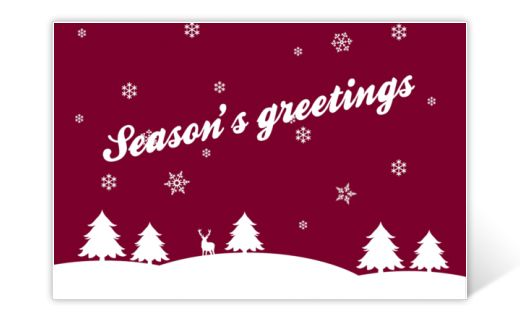 Christmas card red and white with season's greetings