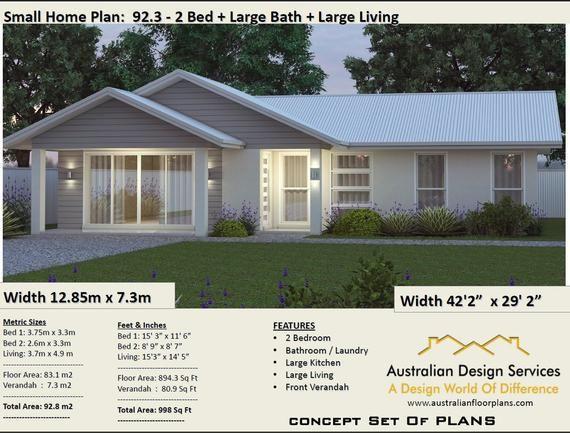House Plans Australia Small House Plans 2 Bedroom House Etsy Affordable House Plans House Plans For Sale House Plans Australia