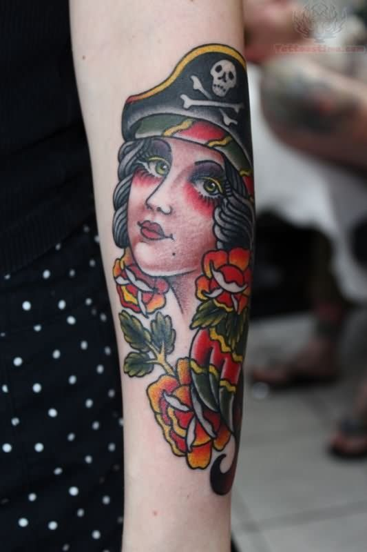 pirate girl tattoo | Red Flowers And Pirate Girl Tattoo On Girl Arm