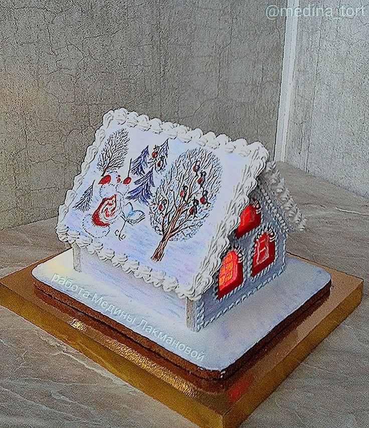 Зимний пряничный домик; в инстаграмме  @medina_tort