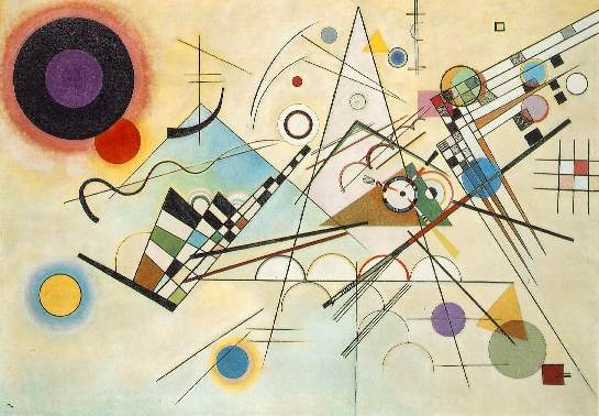 """Kandinsky, """"Composition 9,"""" 1936  Wassily Kandinsky, a Russian-born painter, printmaker and theorist, was one of the pioneers of Abstract art. non-objective art, believing that total abstraction offered the possibility for profound spiritual expression.  paintings of 1913 considered to be among the first completely abstract compositions in modern art history, no reference to the natural world  inspired by and titles frompieces of music  http://www.theartstory.org/artist-kandinsky-wassily.htm"""