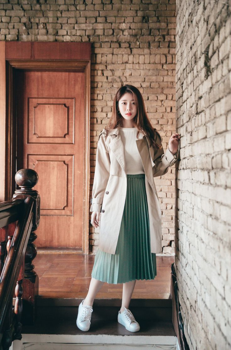 Accordion Pleated Skirt CHLO.D.MANON |  (except for the chunky sneakers, I really like this look...the light-colored trench and the pleated skirt