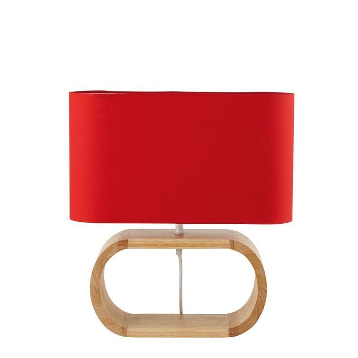 Lampe aus Eschenholz mit rotem Lampenschirm | Maisons du Monde