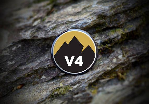 "Show off your bouldering achievement with a bold ""V4"" climbing grade button. Round button features full color graphic and a durable steel pin-back. Pin it to your chalk bag, harness, backpack or anywhere you want to show your support for the sport.  Button is 1.25"" diameter.  Also available as a sticker: https://www.etsy.com/listing/522412581/rock-climbing-sticker-v4-bouldering?ref=shop_home_active_8  Other climbing grade buttons and stickers available to highlig..."