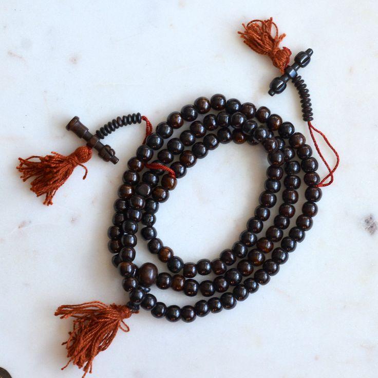 Dark Brown Bone Beads, Tibetan Prayer Beads, 8mm Bone Beads, 2 Side Counters, Prayer Beads, 108 Beads, Meditation Beads, One Mala, MAN170115 by WanderlustWorldArts on Etsy