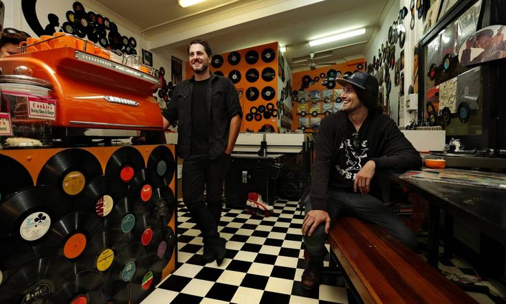 BROWSE AND DINE: Staff from record store and sandwich bar, The Mosh Pit in Cardiff,  Adam Carter and  Shaun Easton.  Picture: Simone De Peak