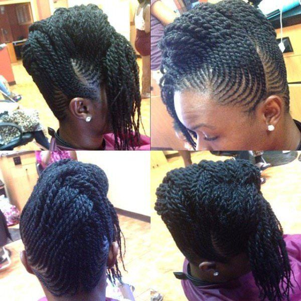 intricate flat twist updo - black