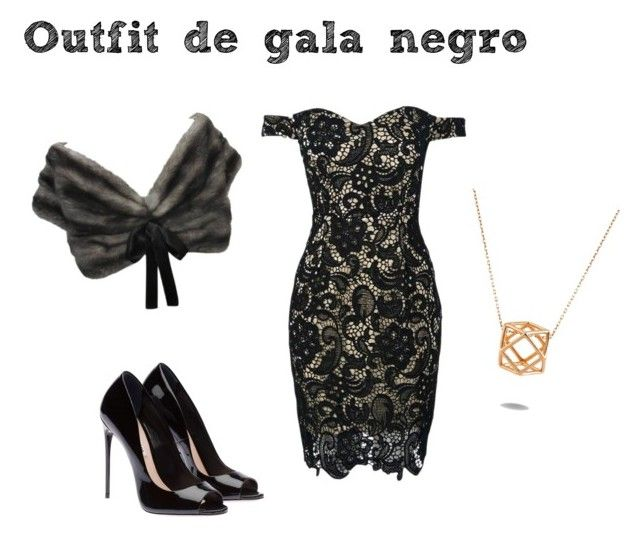 """Outfit de gala negro"" by turbopeka on Polyvore featuring moda, Prada y WithChic"