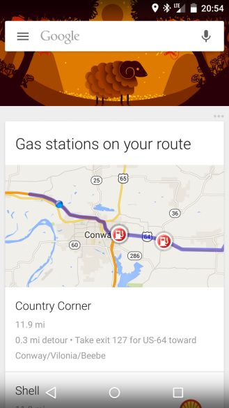 Google Now Has New 'Gas Stations On Your Route' Card