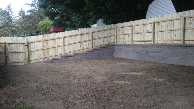 Yard Leveled Out Versa Lok Retaining Wall And Privacy