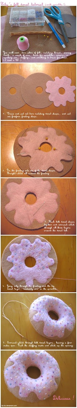 kawaii donut felt plushie tutorial got to give this a go