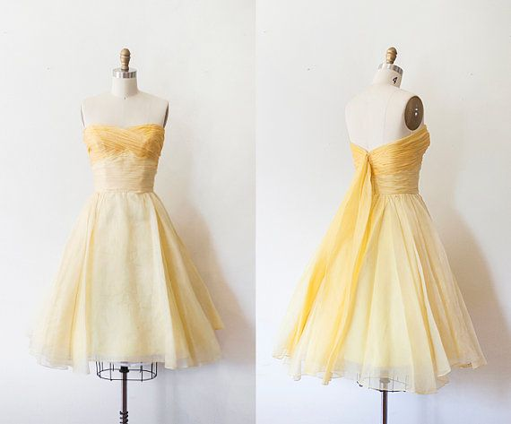 1950s Yellow Party Dress by strawberrykoi on Etsy
