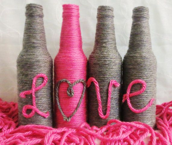 Hey, I found this really awesome Etsy listing at https://www.etsy.com/listing/247128059/yarn-bottles-love-grey-and-hot-pink-set