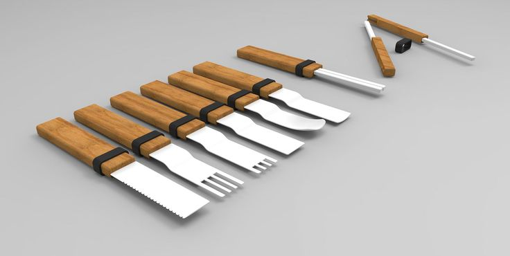 BAMBOO - Bamboo is a collection of cutlery consisting of a fork, a fruit fork, a spoon, a spoon for coffee, a knife, a knife for fish and chopsticks. This cutlery are made from a bamboo handle and the rest of the cutlery is made of ceramic. The bamboo was chosen because it is a very eco-friendly material because it grows very quickly. To stay in Asian culture the bamboo is coupled to the ceramics.