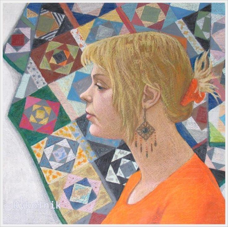 Полотнова Анастасия Валерьевна (Россия, 1983) «Автопортрет на фоне бабушкиного лоскутного одеяла» 2007