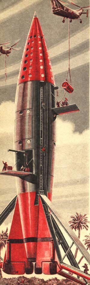 Retro rocketship being readied for launch - spaceship / rocket [Space Future: http://futuristicnews.com/category/future-space/]