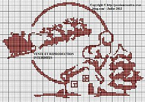 Christmas cross stitch freebie - click on photo for chart -- I think I'd do just the house and tree; they're adorable.