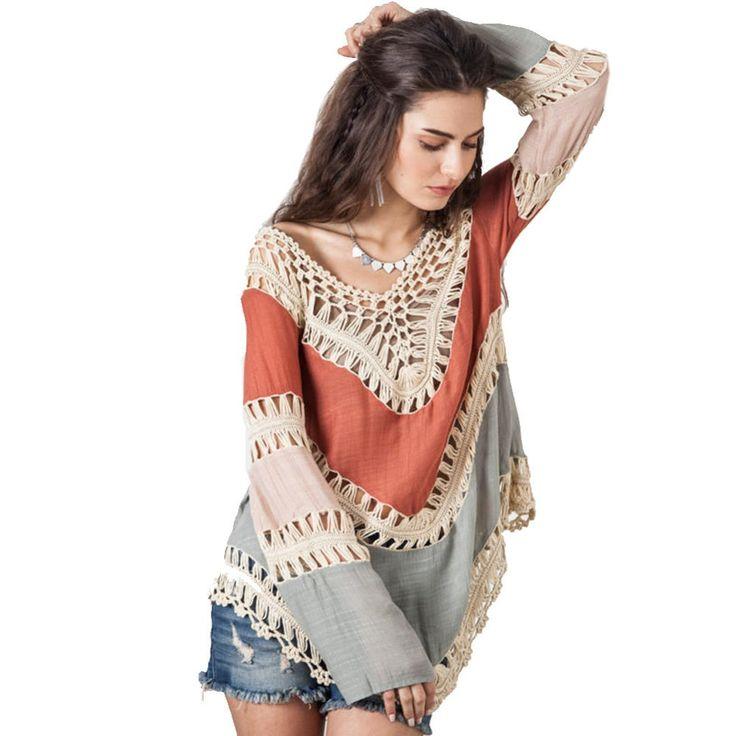 Multicolor V neck Lace Crochet Kimono Blouse Plus Size Shirt Long Knit Tunic Tops