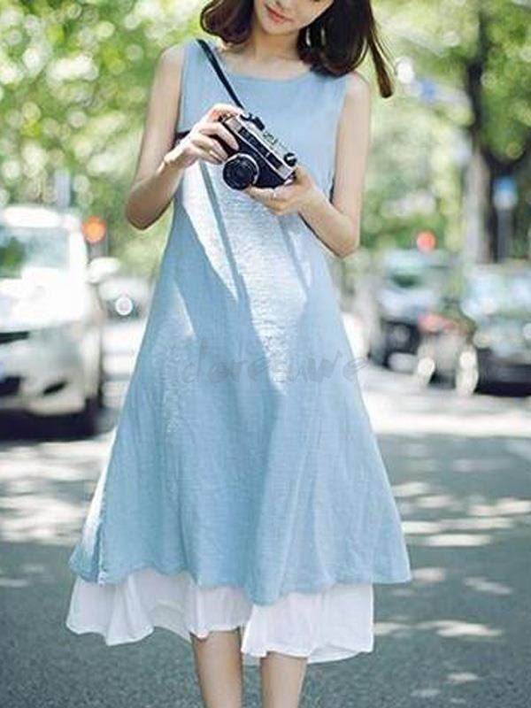 全2色 森ガール 可愛い レイヤード ノースリープ Aライン x大裾 マキシ カジュアルワンピース 11775425 - カジュアルワンピース - Doresuwe.Com