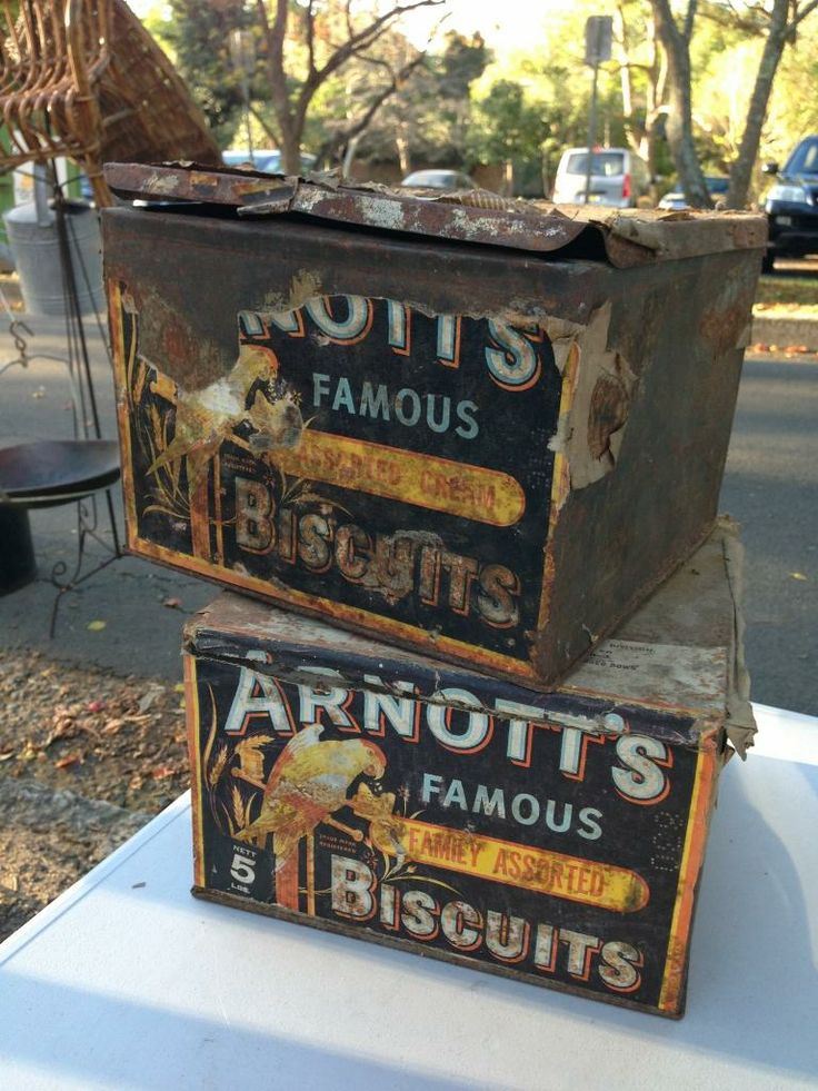 Pair of Australian Grocer Corner Store Vintage Arnott's Biscuit Tins The Antique Store. Antiques, Retro, Vintage, collectables