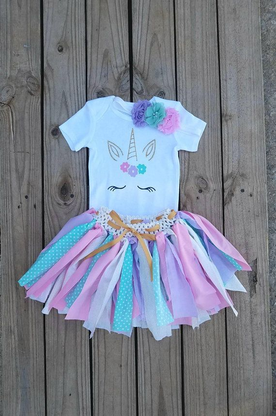 Baby Girl Unicorn Birthday Party Outfit Dress Purple Gold 3 year old