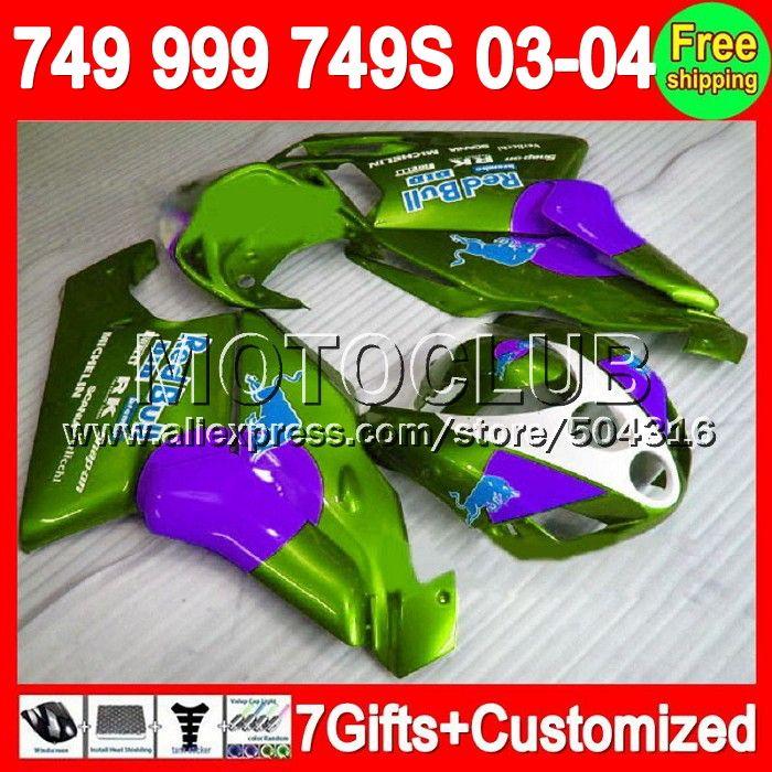 Зеленый фиолетовый 7 подарки + для DUCATI 2003 - 2004 749 S 999 S 749R 999R 749 - 999 03 - 04 6C70 749 749 999 03 04 2003 2004 зализа новый зеленый