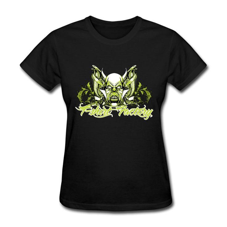 Уникальный дизайн регулярные футболка женщин хэви-метал символ индивидуальные символы женщины футболки обычный стиль