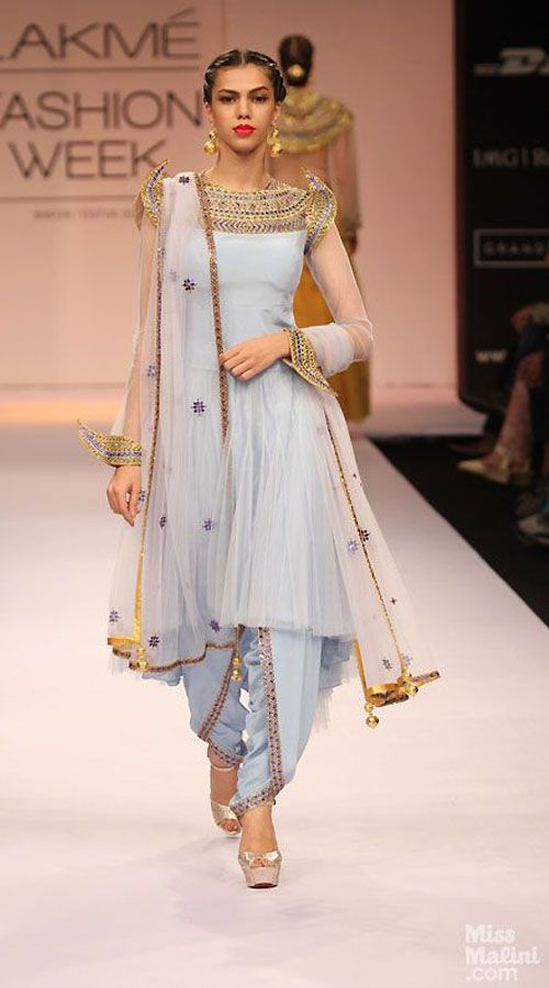 Pretty Light Blue Net Designer Replica Dhoti Salwar With Short Kameez