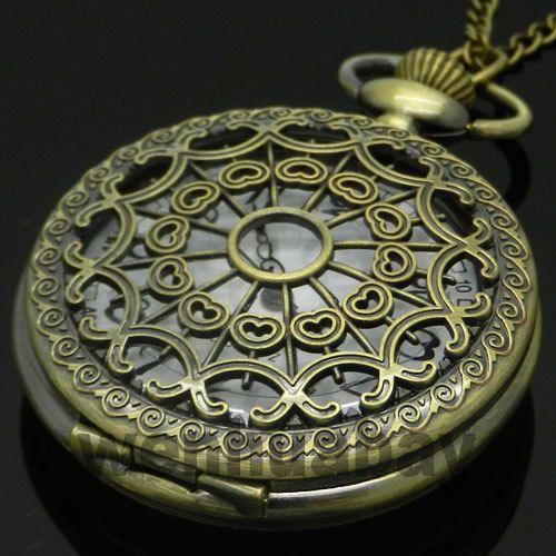 Античная бронзовая Старинные Паутина Полые Ожерелье Кварцевые Карманные Часы С Цепи Мужчины Женщины Подарок
