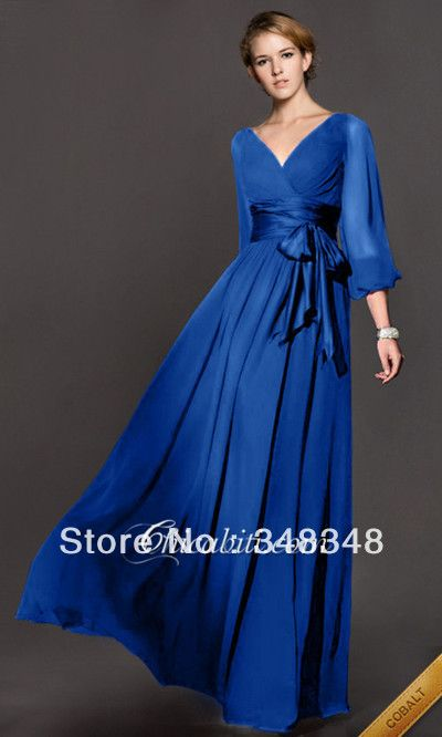 Elie Saab Royal Blue Cheap Long Sleeve A Line Floor Length Formal Evening Dresses Dresses Gowns For Womens 2014 Free Shipping $99.99