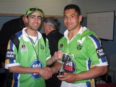 The inaugural winner of the Canberra Raiders Fans' Choice Player of the Year was Ruben Wiki in 2004.  The Fans' Choice Award is voted on a 3-2-1 basis each week by the readers of The Greenhouse.