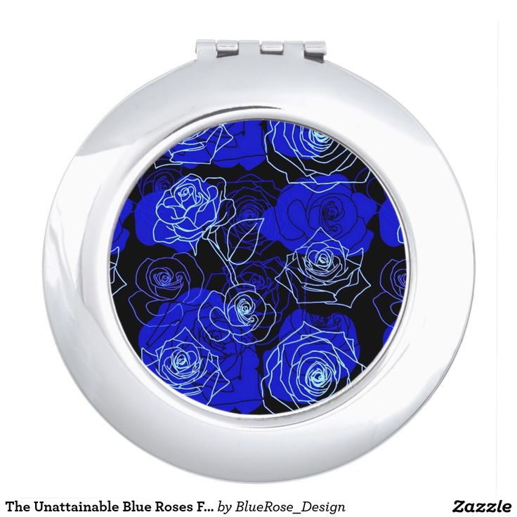 The Unattainable Blue Roses Floral Compact Mirror