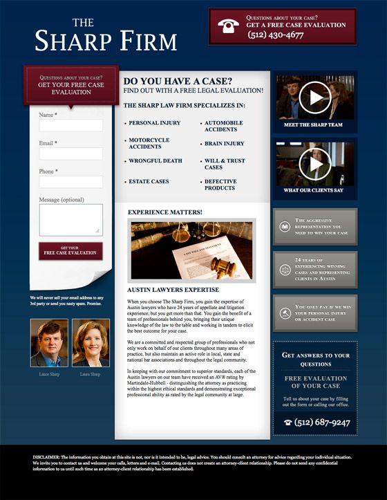 #LandingPage Examples : The Sharp Firm - Lawyers for tons of stuff.  #Unbounce