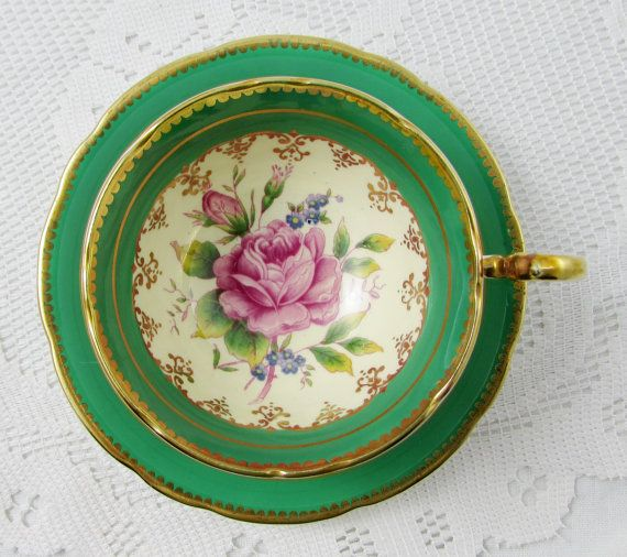 Vintage Aynsley Green Tea Cup and Saucerwith Pink Rose, Bone China